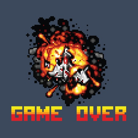 game over: space ship on fire pixel game over message pixel art style retro illustration