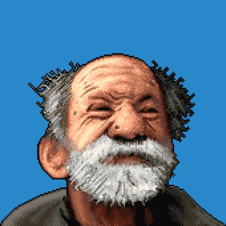 clipart wrinkles: old man face pixel art vector illustration isolated