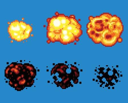flames: Arte del pixel video Explosi�n Juego Animaci�n vectorial Marcos aislada
