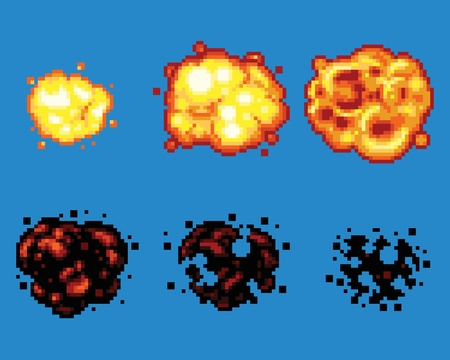 flames: Pixel Art Video Game Explosion Animation Vector Frames Isolated
