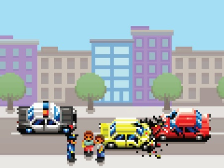 collision: city car collision, police car and people pixel art game style retro illustration