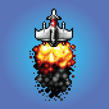 blasting: 8-bit pixel art space ship blasting flying into space vector illustration