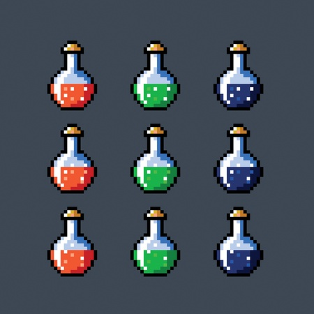 ampule: Set of animated potion bottles phial vial, pixel art style, vector isolated