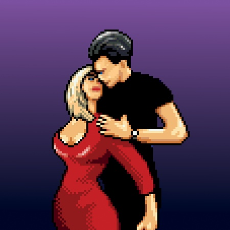 pixelart: dancing couple 8-Bit pixel-art style vector illustration isolated