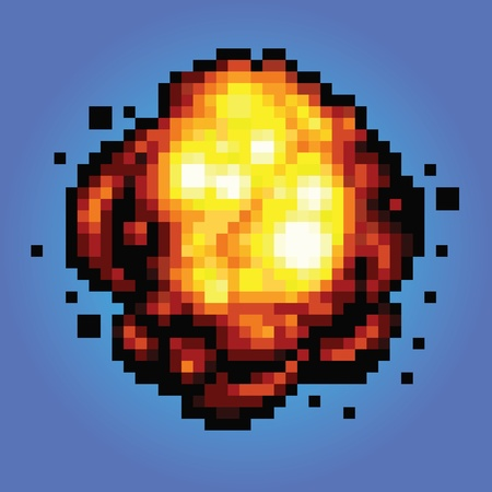bang explosion pixel art game style retro illustration
