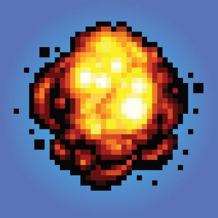 bang explosion pixel art game style retro illustration
