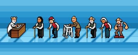 les personnes âgées qui attendent en ligne dans les couches vectorielles hôpital style pixel art illustration
