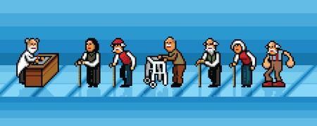 waiting line: old people waiting in line in hospital pixel art style vector layers illustration