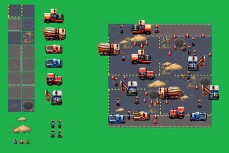 site: construction site - pixel art video style game elements vector illustration set Illustration