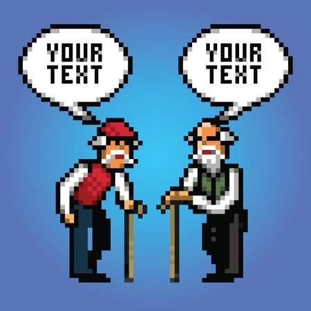 mature: two mature grandfather talking with speech bubbles pixel art style illustration