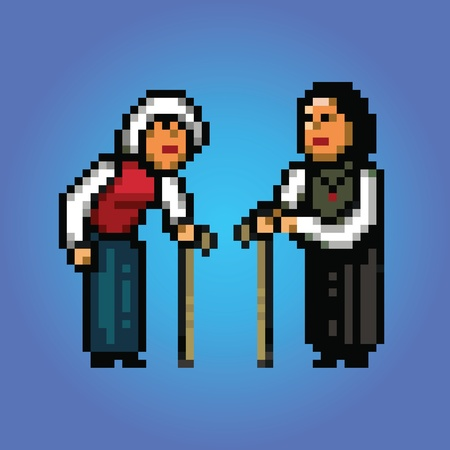 grandmothers talking pixel art style illustration Vector