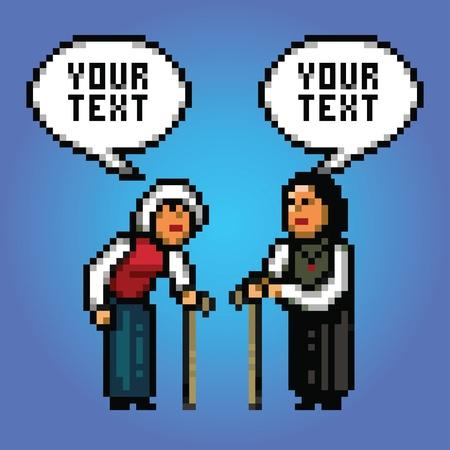 damas antiguas: dos mujeres maduras abuela hablar con las burbujas del discurso ilustración de estilo pixel art