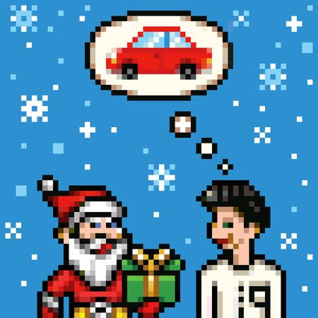 8 bit: dream about new car for xmas - retro pixel 8 bit style vector illustration