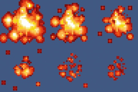 games: 8-Bit Pixel-art Explosion Animation Vector Frames Isolated