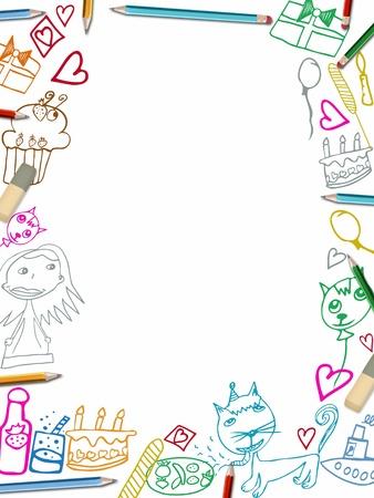 marco cumpleaños: Feliz cumpleaños los niños de bastidor verticales dibujos ilustración aisladas sobre fondo blanco Foto de archivo