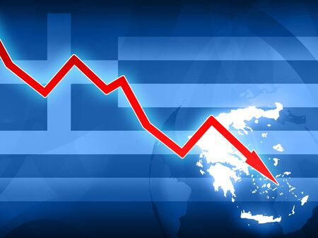 greek currency: financial crisis in Greece red arrow - concept news illustration