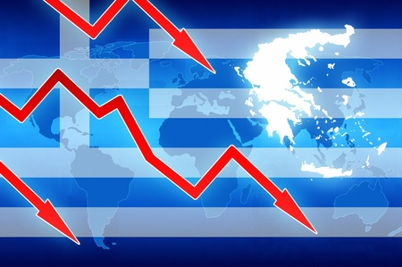 financial problems: financial problems in Greece flag and red arrows - concept news background illustration Stock Photo