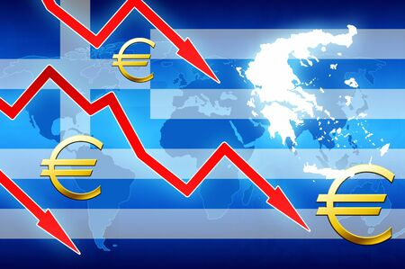 currency symbol: financial problems in Greece red arrows euro currency symbol concept news background illustration Stock Photo