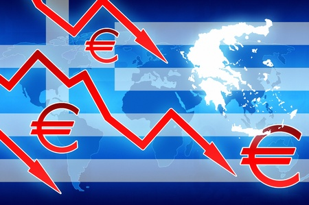 greek coins: Greece crisis red arrows and euro currency symbol news background illustration