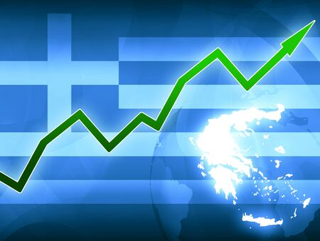financial protection: Greece finance prosperity green arrow - concept news background illustration