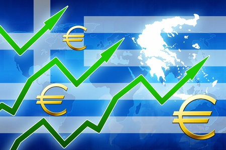 greek currency: financial prosperity in Greece green arrows euro currency symbol concept news background illustration