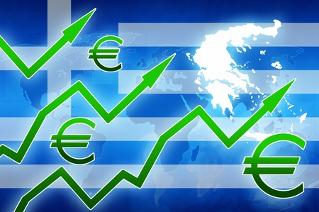 green arrows: financial increase in Greece green arrows euro currency symbol concept news background illustration