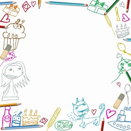 marco cumpleaños: Feliz Cumpleaños colorido Marco de los niños dibujos ilustración aisladas sobre fondo blanco