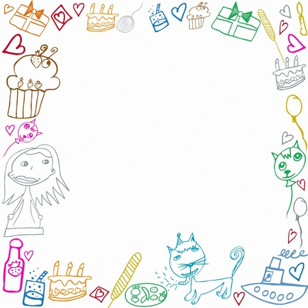 cake background: Happy Birthday childish scribbles frame illustration isolated on white background Stock Photo