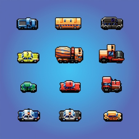 pixelart: pixel art game cars collection, vector illustration Illustration