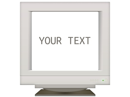 old retro monitor screen in background for presentation. place your text isolated on white Archivio Fotografico