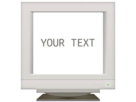 monitor de computadora: vieja pantalla del monitor retro de fondo para la presentación. Coloca el texto aislado en blanco