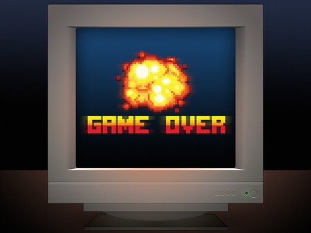 game over pixel art message monitor screen display game style illustration Reklamní fotografie