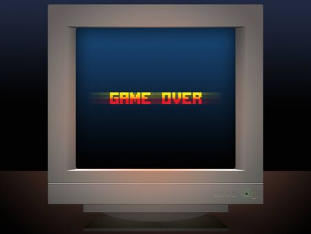 pixel art: game over pixel art style retro monitor message illustration