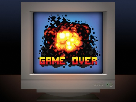 8 bit: game over explosion retro video game style illustration