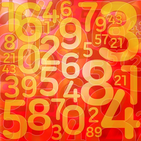 digital number: Numbers on red texture background Stock Photo
