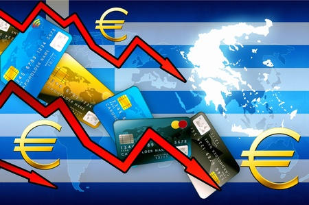 credit crisis: Greece crisis concept background - red arrows euro currency credit cards illustration Stock Photo