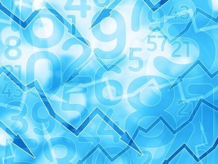 business abstract: arrows numbers financial light blue background illustration