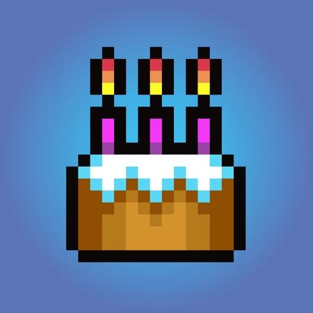 joyeux anniversaire: Gâteau d'anniversaire, Pixel art vecteur icône illustration