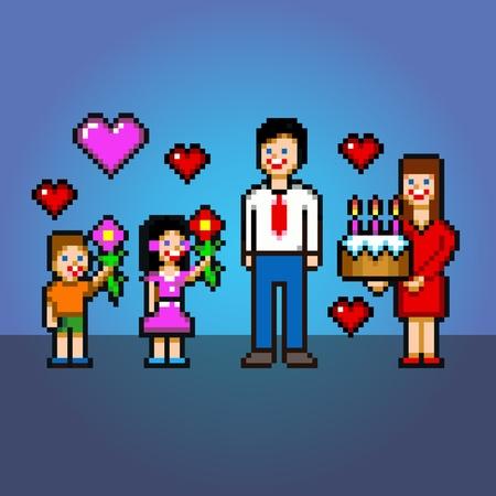 Birthday Cake Pixel Art Vector Icon Illustration Royalty Free