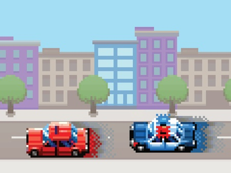 police car chase pixel art video game style retro layer illustration Illustration