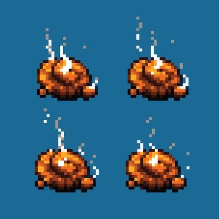 faeces: Poop or shit pixel art animation frames vector illustration