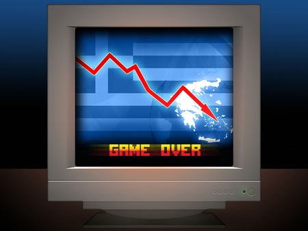 credit union: Greece Crisis Concept Game Over Illustration Background