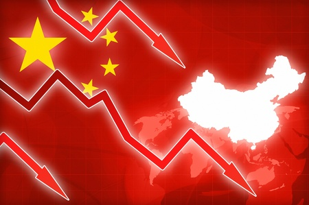 financial crisis: financial crisis in China red arrow - concept news background illustration Stock Photo