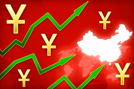yuan: Chinese yuan currency growth illustration with green up arrows background Stock Photo