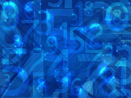 numbers abstract: blue lights abstract numbers background Stock Photo