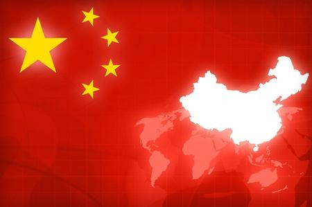 China Kaart en Vlag op een wereldbol nieuws achtergrond afbeelding Stockfoto