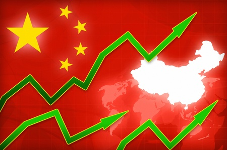 china map: financial yuan currency growth in China - concept news background illustration Stock Photo