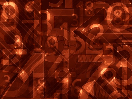 numbers abstract: dark red orange abstract lights math numbers background