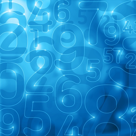 numbers abstract: blue lights and glowing numbers abstract encryption background