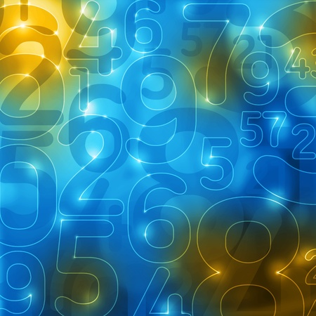 encryption: yellow blue glowing numbers abstract encryption background Stock Photo